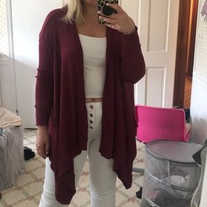 American Eagle Maroon Hooded Cardigan